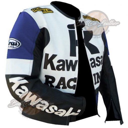KAWASAKI MOTORCYCLE BLUE LEATHER JACKET open
