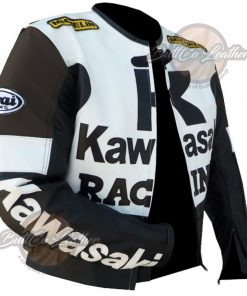 KAWASAKI MOTORCYCLE BROWN LEATHER JACKET open