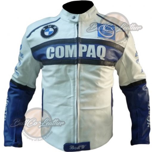 BMW COMPAQ WHITE LEATHER COAT front main