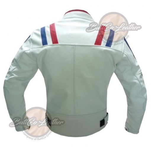 CUSTOM MOTORCYCLE WHITE LEATHER GEAR back
