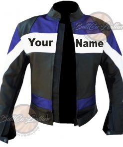 CUSTOM HEAVY BIKE BLUE LEATHER GEAR open