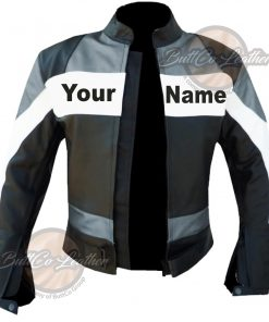 CUSTOM HEAVY BIKE GREY LEATHER GEAR open