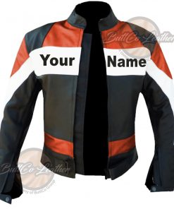 CUSTOM MOTORCYCLE ORANGE LEATHER GEAR open