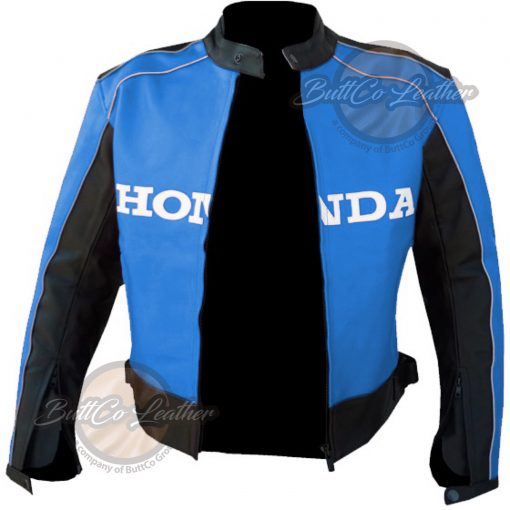 HONDA MOTORCYCLE SKY BLUE LEATHER COAT open