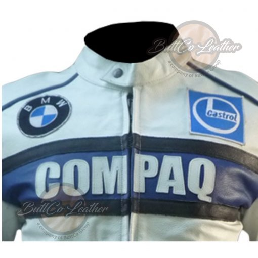 BMW COMPAQ WHITE LEATHER COAT zoomed