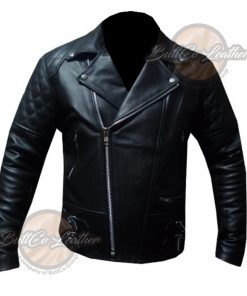 CUSTOM BLACK HEAVY BIKE LEATHER GEAR front