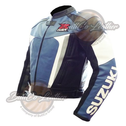 SUZUKI MOTORCYCLE BLUE LEATHER GEAR SIDE2