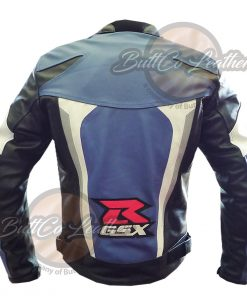 SUZUKI MOTORCYCLE BLUE LEATHER GEAR BACK