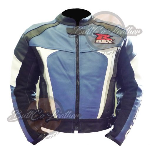 SUZUKI MOTORCYCLE BLUE LEATHER GEAR FRONT