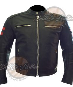 CUSTOM MOTORCYCLE ORANGE LEATHER COAT front