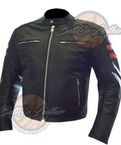 CUSTOM MOTORCYCLE ORANGE LEATHER COAT side1