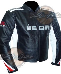 SUZUKI BLACK & WHITE LEATHER JACKET front