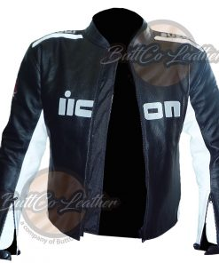 SUZUKI BLACK & WHITE LEATHER JACKET open