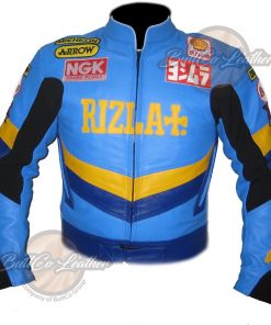 Rizla Sky Blue Leather Jacket front