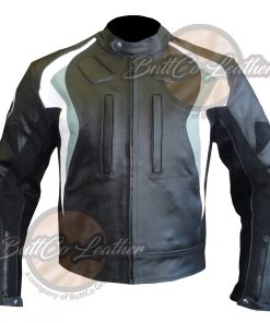 BMW GREY MOTORBIKE LEATHER COAT FRONT