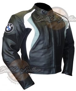 BMW GREY MOTORBIKE LEATHER COAT SIDE