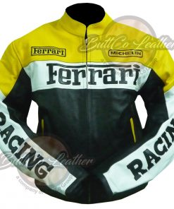 FERRARI YELLOW LEATHER JACKET front