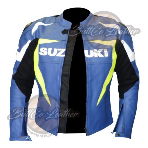 SUZUKI MOTORCYCLE LEATHER JACKET open