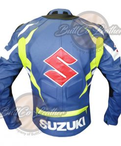 SUZUKI MOTORCYCLE LEATHER JACKET back