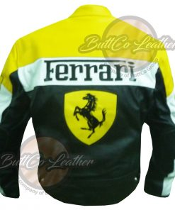 FERRARI YELLOW LEATHER JACKET back