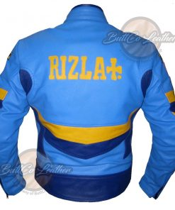 Rizla Sky Blue Leather Jacket back