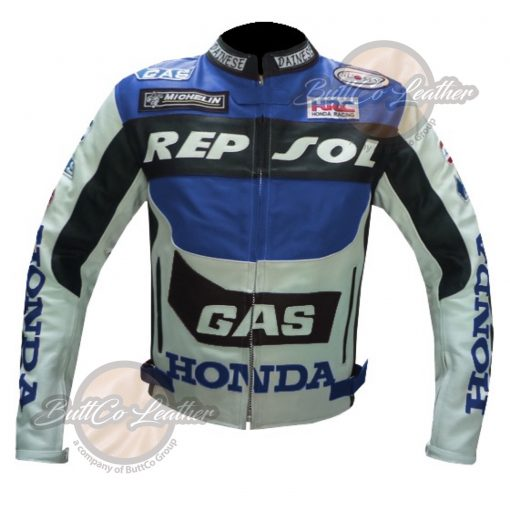 HONDA BIKERS REPSOL BLUE LEATHER COAT front