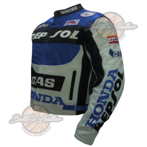 HONDA BIKERS REPSOL BLUE LEATHER COAT side