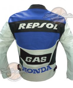 HONDA BIKERS REPSOL BLUE LEATHER COAT back