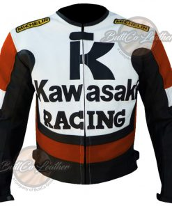 KAWASAKI MOTORCYCLE ORANGE LEATHER JACKET front