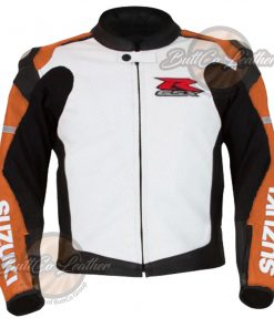 SUZUKI BIKERS ORANGE LEATHER JACKET front