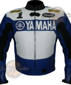 Yamaha Bikers Blue Leather Gear front
