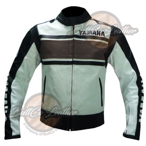 YAMAHA BIKERS BROWN LEATHER GEAR front