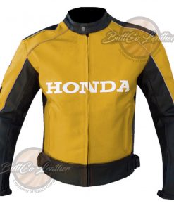 HONDA HEAVY BIKE YELLOW LEATHER COAT front