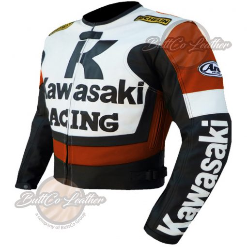 KAWASAKI MOTORCYCLE ORANGE LEATHER JACKET side2