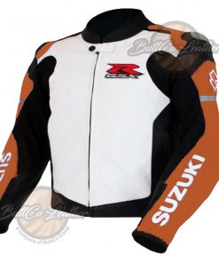 SUZUKI BIKERS ORANGE LEATHER JACKET side