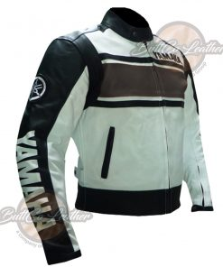 YAMAHA BIKERS BROWN LEATHER GEAR side
