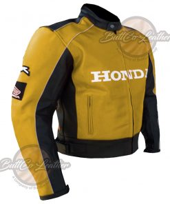 HONDA HEAVY BIKE YELLOW LEATHER COAT side