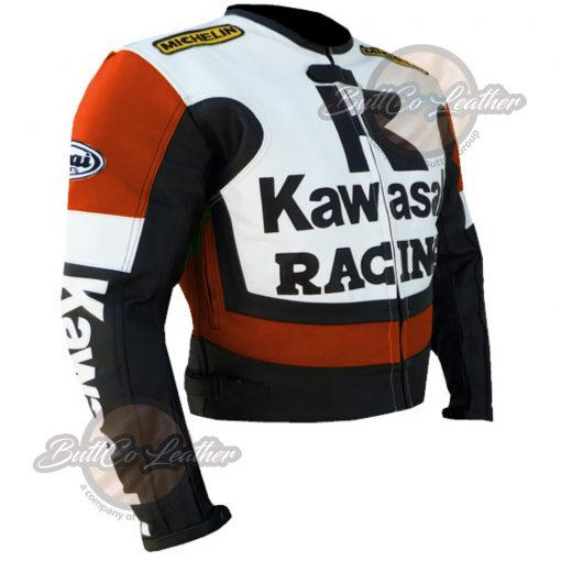 KAWASAKI MOTORCYCLE ORANGE LEATHER JACKET side1