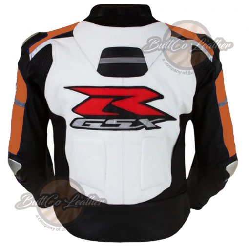 SUZUKI BIKERS ORANGE LEATHER JACKET bakck