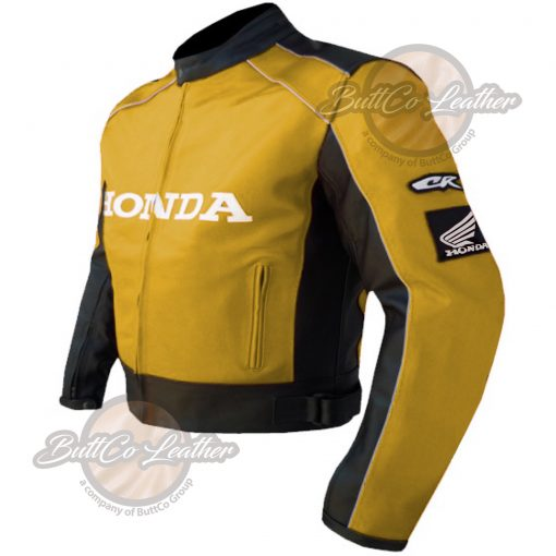 HONDA HEAVY BIKE YELLOW LEATHER COAT side 2