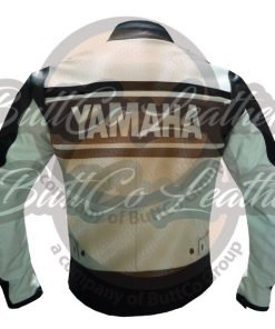 YAMAHA BIKERS BROWN LEATHER GEAR back