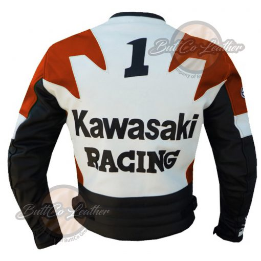 KAWASAKI MOTORCYCLE ORANGE LEATHER JACKET back