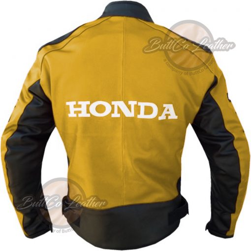 HONDA HEAVY BIKE YELLOW LEATHER COAT back