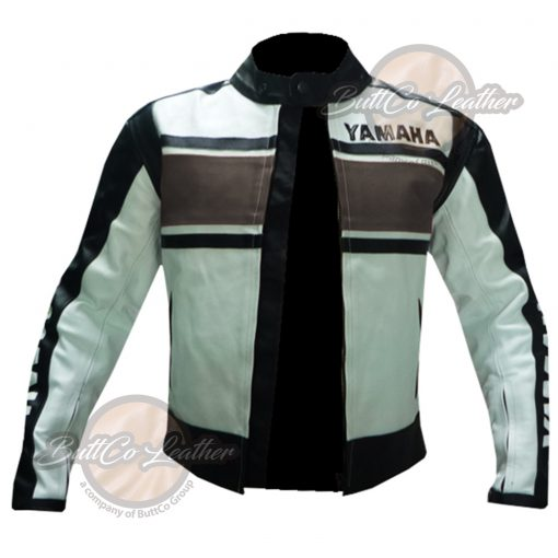 YAMAHA BIKERS BROWN LEATHER GEAR open