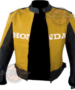 HONDA HEAVY BIKE YELLOW LEATHER COAT open